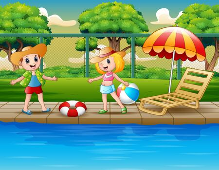 Cartoon happy children playing by the pool 向量圖像