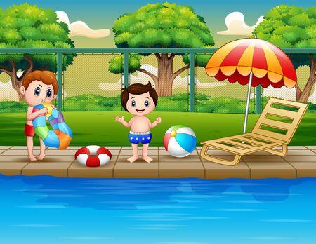 Happy boys enjoying playing in outdoor pool Stockfoto - 128589895