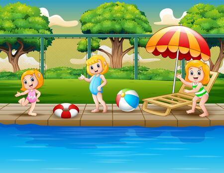 Cartoon happy girls playing in swimming pool