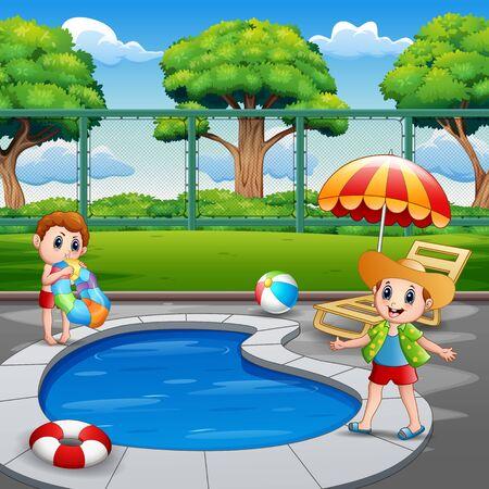 Happy boys enjoying playing in outdoor pool