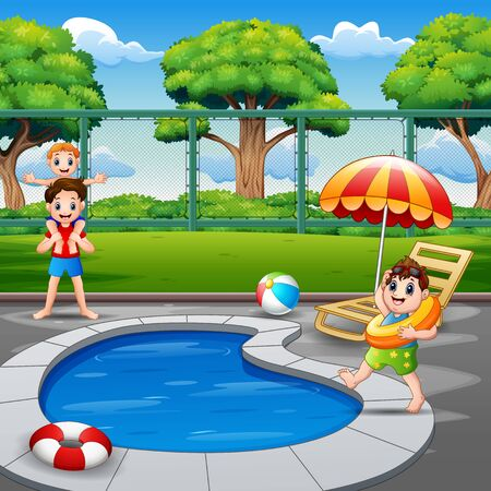 Happy family playing by the pool Illustration