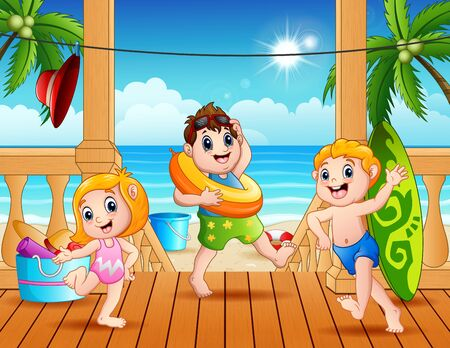 Happy children are playing on the beach Ilustracja