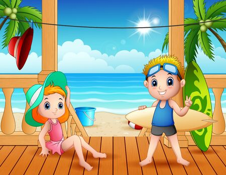 Summer vacation on the beach landscape