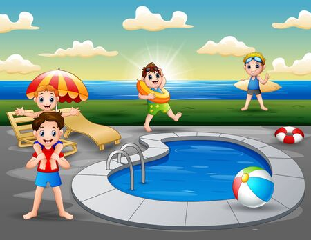 Summer vacation in swimming pool on the beach
