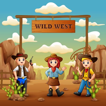 Cartoon cowboys and cowgirl in wild west background Illusztráció