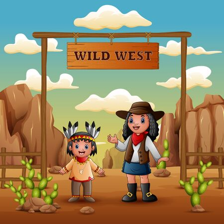 Wild west with young african cowgirls and indian girl Illustration