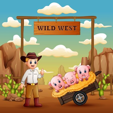 Wild west gate landscape with cowboy and many pigs Stock Illustratie