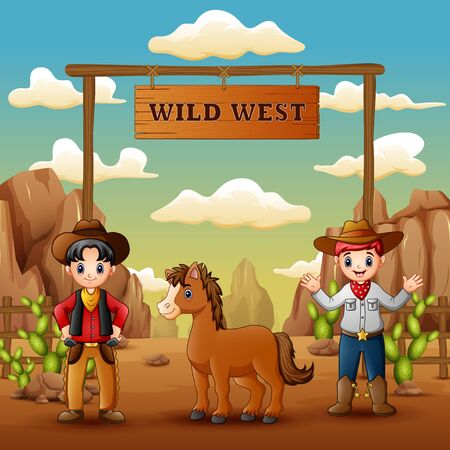 Cowboys with horse in wild west entrance