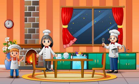 Happy chefs preparing food for dinner