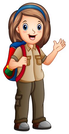 A girl in explorer outfit with backpack Stock Illustratie