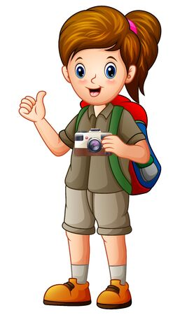 A beautiful explorer girl with her camera
