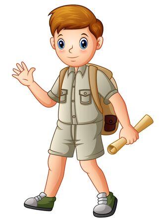 Boy explorer holding a map