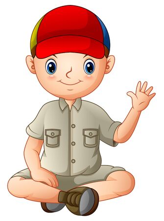 A boy in camping outfit is sitting and waving Stock Illustratie