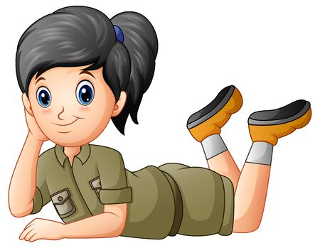 Scout girl cartoon lying on white background