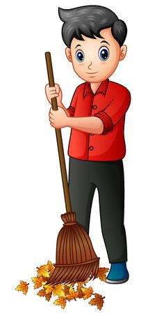 Man with a broom sweeps away fallen leaves