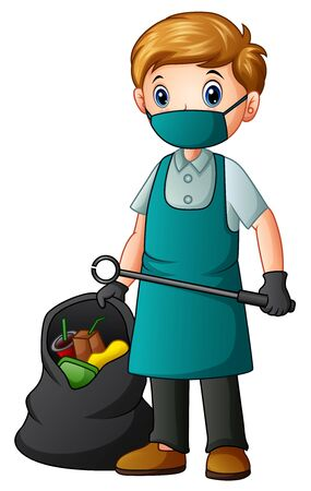 A male cleaner holding tongs and garbage bag
