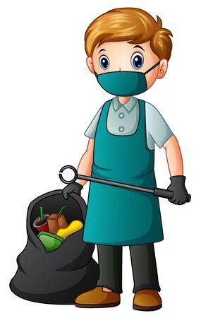 Un limpiador masculino con pinzas y bolsa de basura.