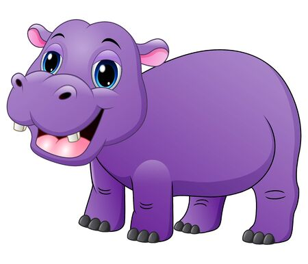 Smiling baby hippo isolated on white background