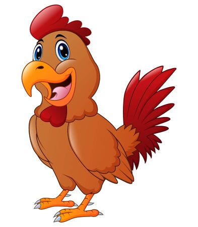 Happy cartoon rooster on white background Illustration