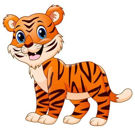 Cartone animato sorridente tigre isolato su sfondo bianco white