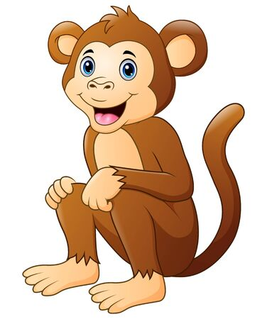 Cute monkey cartoon sitting and smiling