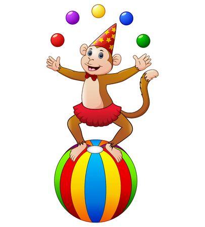 Circus monkey while juggling balls Illustration
