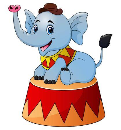 Circus elephant cartoon on the stage