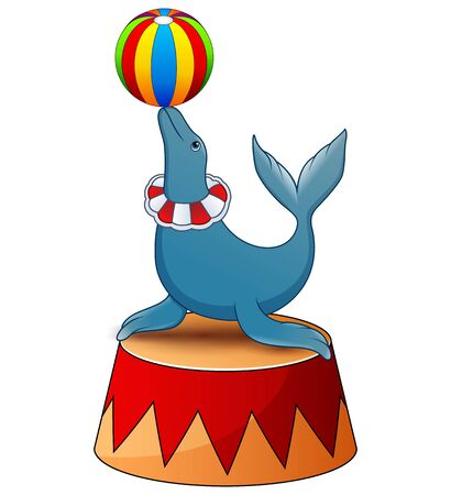 Fur seal plays a ball on the stage of a circus Illustration