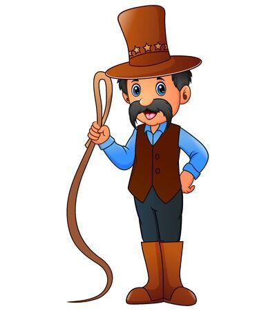 Cartoon of circus animal trainer