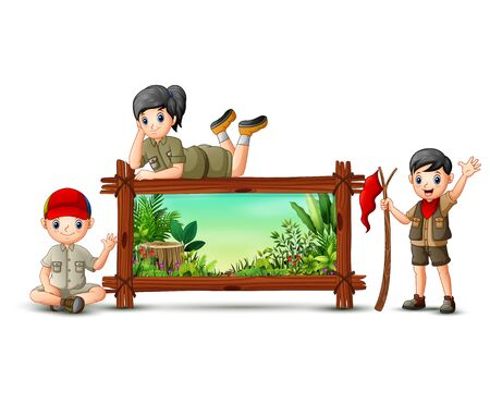 Scout boy and girl near the wooden frame