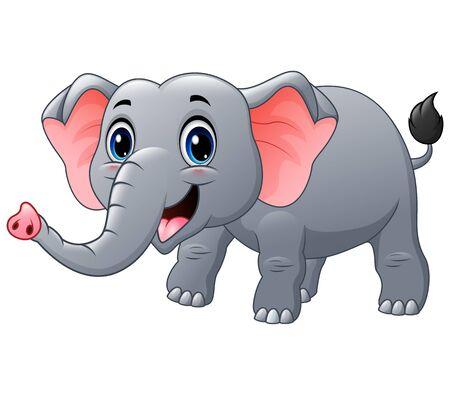 Happy elephant cartoon on a white background Illustration