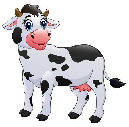 Cow cartoon isolated on white background Illustration