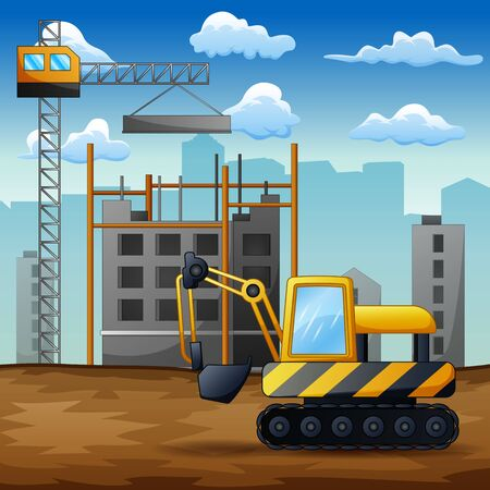 Concept of process construction building a house illustration background