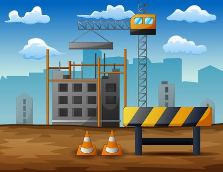 Process of construction of residential houses isolated 일러스트