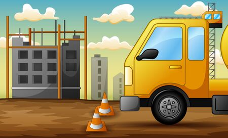 Background of truck on construction site