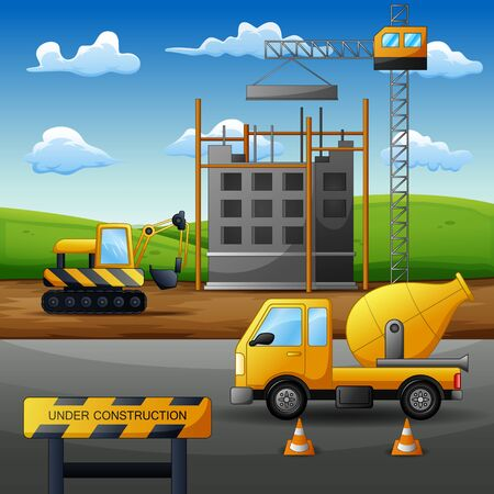 Concept of process construction site with equipment