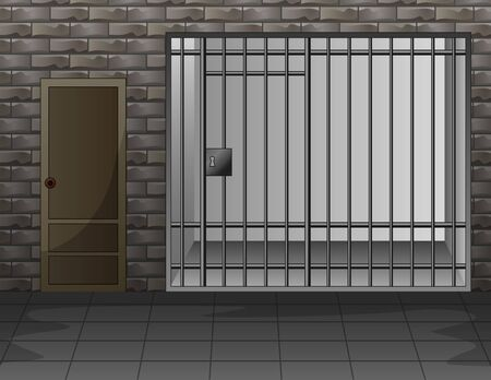 Scene with prison room interior illustration  イラスト・ベクター素材