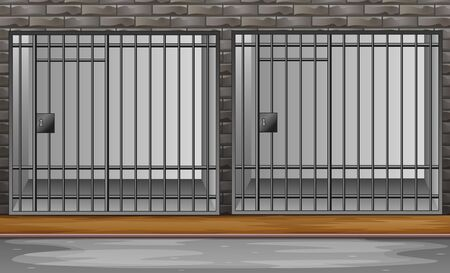 Prison cell with metal bars illustration  イラスト・ベクター素材