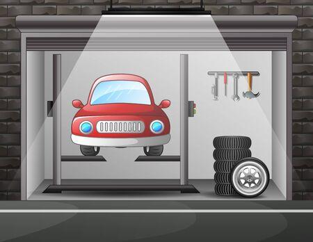 Illustration of car service and repair