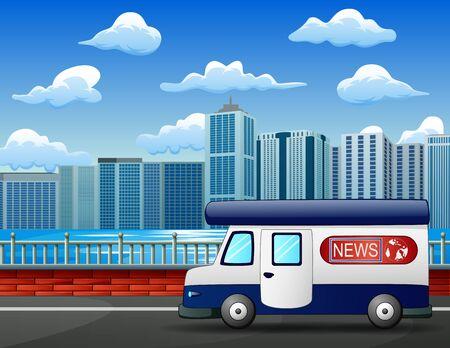 Modern news truck on city road, mobile broadcast vehicle 일러스트