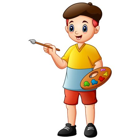 Creative boy holding paintbrush and palette with watercolors Stock Illustratie