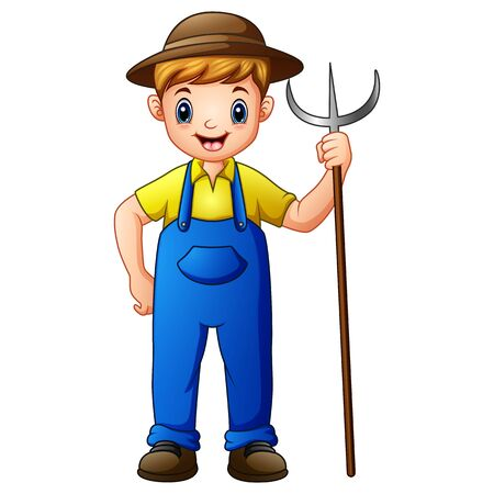 Cute young guy farmer holding pitchfork isolated on white background