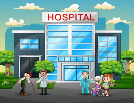 Doctors and patients cartoon in front the hospital