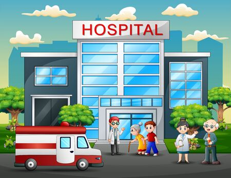 Front side view of hospital with a doctor, nurse, patient and ambulance on nature background