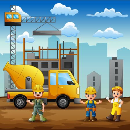 Construction worker at construction site background 일러스트