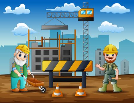 Construction worker at construction site background Ilustrace