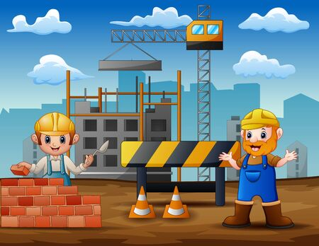 Illustration of construction workers at a building site