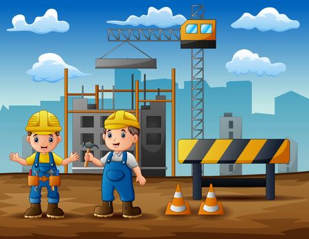 Construction worker discussion with manager at construction site background Ilustrace