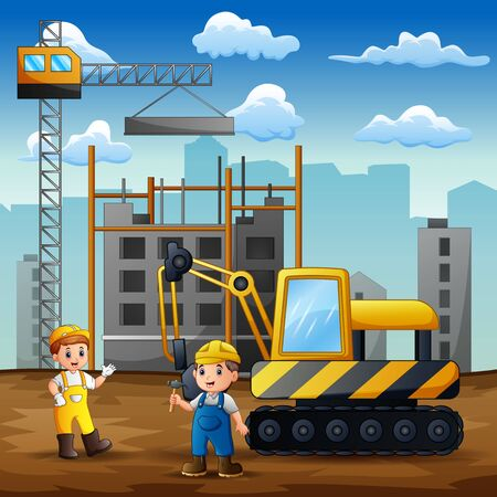 Construction worker discussion with manager at construction site background 일러스트