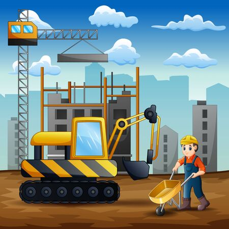 Young builder at work on construction site